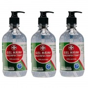 3 Gel dezinfectant Lebada pentru maini Biocid 70% alcool,Avizat MS, 3x500 ml