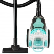 Aspirator fara sac Hausberg, Multi-Cyclone Vacuum Cleaner, 3L, 700W, 79dB, Alb/Turqouise