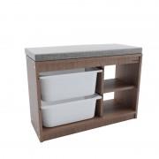Bancheta din lemn cu 2 rafturi si 2 sertare din plastic ,43 x 25 x 66 cm