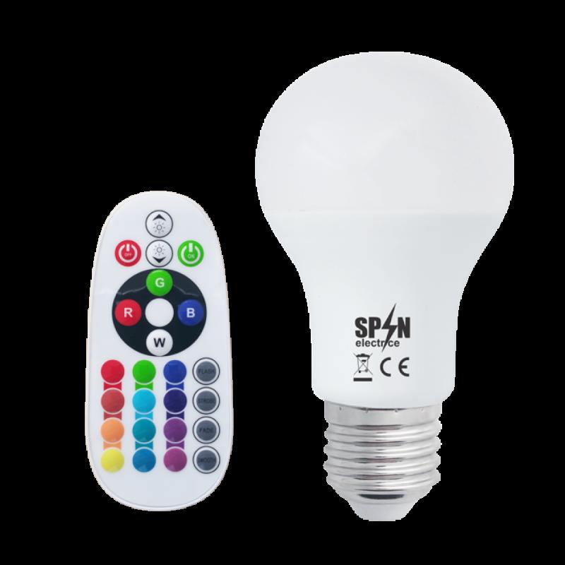Bec Led E27,8W=70W,850Lm + Smart Kit Telecomanda,Rgb+6400K,lumina rece