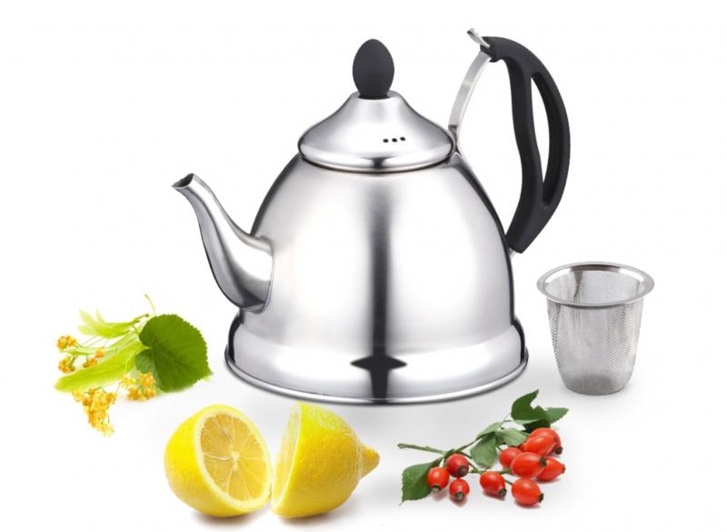 Ceainic din inox cu filtru - 1L