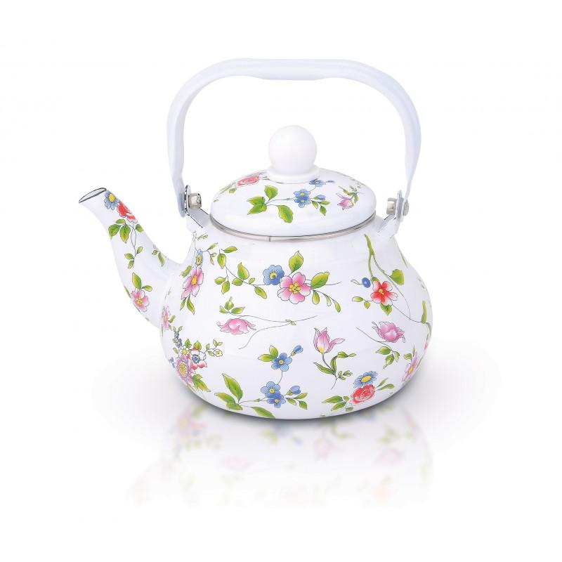 Ceainic emailat 2 Litri cu fluier, flori