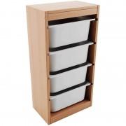 Comoda din lemn cu 4 sertare din plastic,40 x 25 x 77 cm