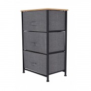 Comoda metalica cu 3 sertare, material textil, 45 x 30 x 73 cm,gri