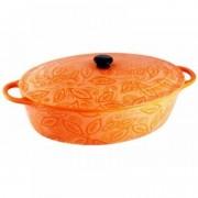 Cratita ceramica ovala cu capac, 1.3 Litri, 25 cm