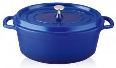 Cratita Grunberg din aluminiu cu interior teflonat si capac,24 cm,4 L,albastru