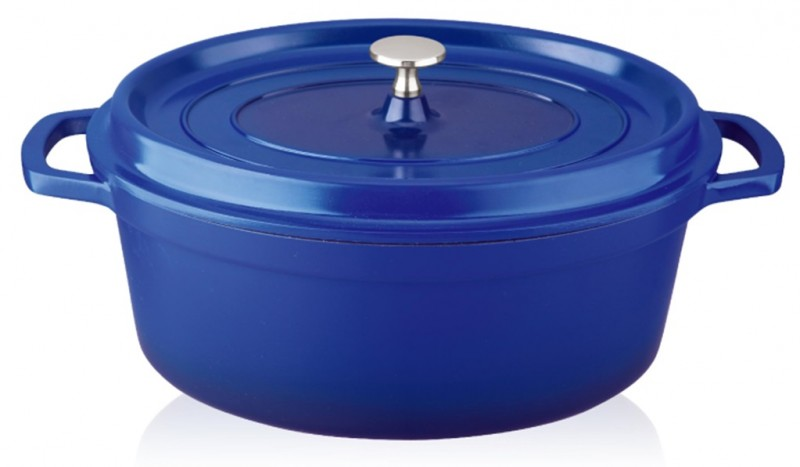 Cratita Grunberg din aluminiu cu interior teflonat si capac,28 cm,6.4 L,albastru