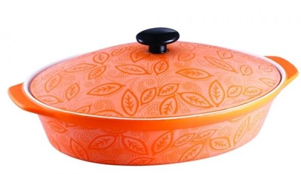 Cratita ovala cu capac - ceramica portocalie