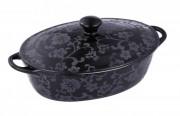 Cratita ovala din ceramica neagra cu capac, 1.4 Litri