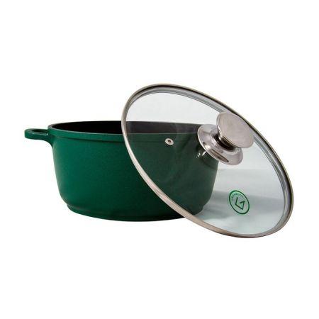 Cratita tuci Grunberg, 28 cm, 6 l, Capac sticla, Verde