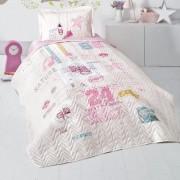 Cuvertura de pat matlasata o persoana,100% bumbac,alb+Perna