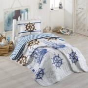 Cuvertura de pat matlasata o persoana,100% bumbac,marinar+Perna