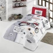 Cuvertura de pat matlasata o persoana,100% bumbac,moto+Perna