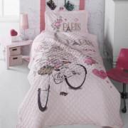 Cuvertura de pat matlasata o persoana,100% bumbac,paris+Perna