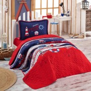 Cuvertura de pat matlasata o persoana,100% bumbac,rosu+Perna