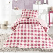 Cuvertura de pat matlasata o persoana,100% bumbac,roz+Perna