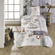 Cuvertura de pat matlasata o persoana,100% bumbac,sailor+Perna