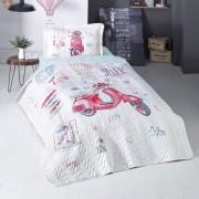 Cuvertura de pat matlasata o persoana,100% bumbac,scuter+Perna