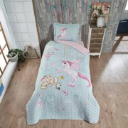 Cuvertura de pat matlasata o persoana,100% bumbac,unicorn+Perna