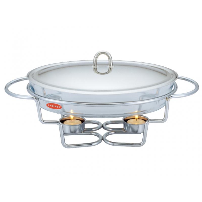 Dish cu incalzitor Azus Peterhof, 3 Litri, Vas Yena cu Capac, Suport, Inox