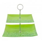 Etajera sticla 2 nivele,verde