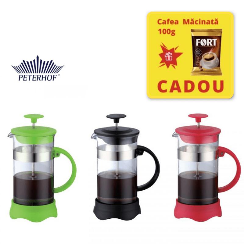Filtru manual 800 ml Cafea si Ceai French Press, Cafea macinata, Sticla