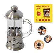 Infuzor ceai si cafea Ertone, 350 ml, Cafea macinata, sticla, inox, argintiu
