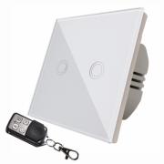 Intrerupator touch dublu cu telecomanda RF,panou sticla