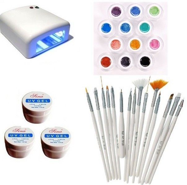 Kit-ul Unghii False , Lampa,  Gel UV , Pensule