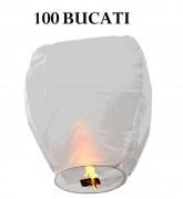 Lampioane zburatoare albe set 100 bucati+1 Lampion forma inima