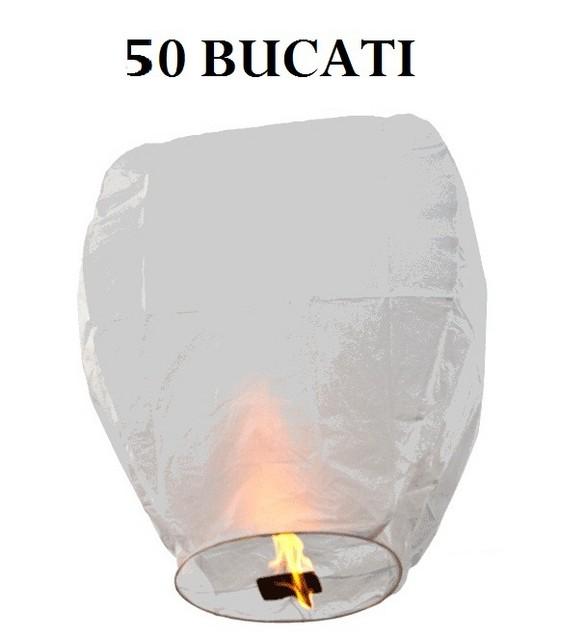 Lampioane zburatoare albe set 50 bucati