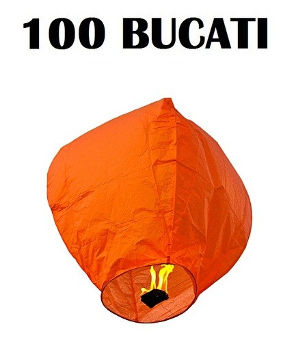 Lampioane zburatoare portocalii set 100 bucati+1 Lampion forma inima