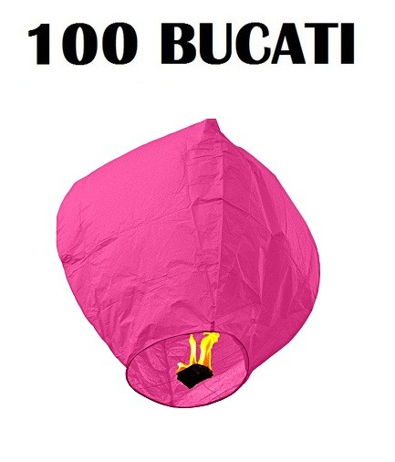 Lampioane zburatoare roz set 100 bucati+1 Lampion forma inima