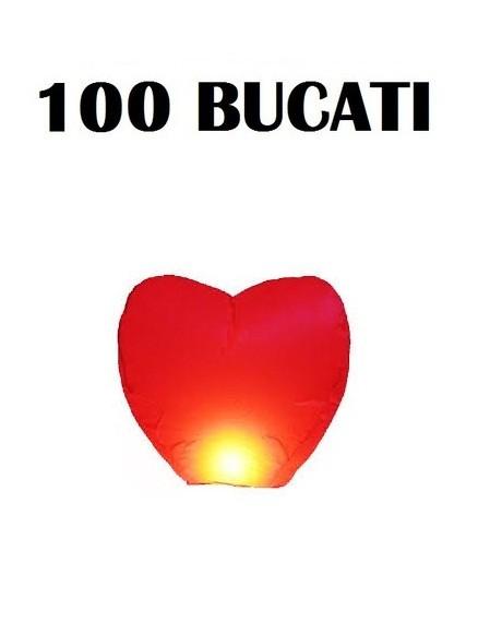 Lampioane zburatoare set 100 buc in forma de inima