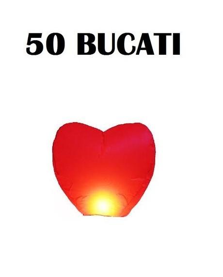 Lampioane zburatoare set 50 buc in forma de inima