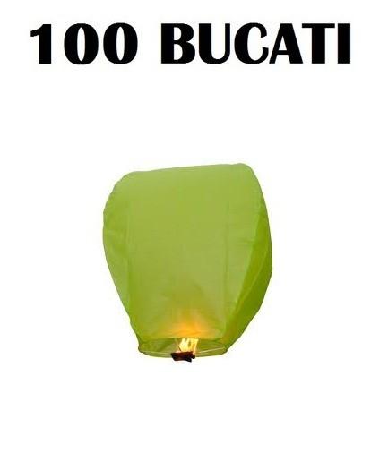 Lampioane zburatoare verzi set 100 bucati+1 Lampion forma inima