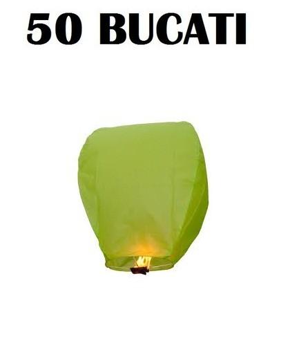 Lampioane zburatoare verzi set 50 bucati