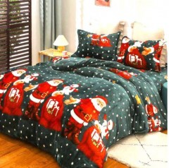 Lenjerie de pat Cocolino,2 persoane, 4 piese, Mos Craciun