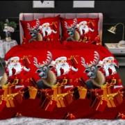 Lenjerie de pat Cocolino,2 persoane, 4 piese, rosu