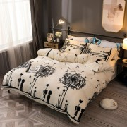 Lenjerie de pat Cocolino,4 piese,2 persoane,crem/negru