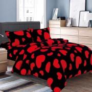 Lenjerie de pat Cocolino,4 piese,2 persoane,negru cu rosu
