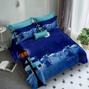 Lenjerie de pat Finet 3D,2 persoane,6 piese,albastru