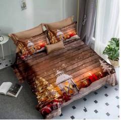 Lenjerie de pat Finet 3D,2 persoane,6 piese,maro