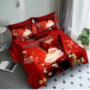 Lenjerie de pat Finet 3D,2 persoane,6 piese,Rosu