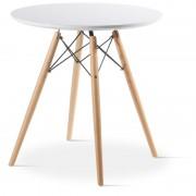 Masa rotunda cu blat din MDF si picioare din lemn de fag, 60 x 49 cm,alb