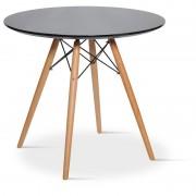 Masa rotunda cu blat din MDF si picioare din lemn de fag, 60 x 49 cm,negru