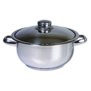 Oala inox cu capac, Cocinera,22 cm, 4 L, 3 straturi