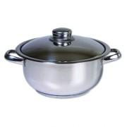 Oala inox cu capac, Cocinera, 24 cm, 6 L, 3 straturi
