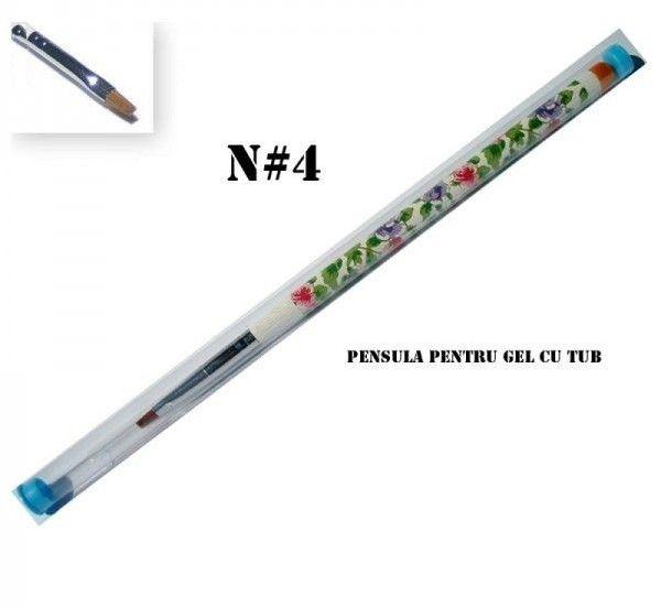 Pensula gel cu tub, motiv floral - Nr. 04