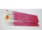 Pensule pentru Acril - set 15 PINK